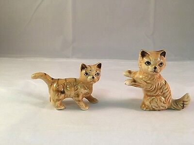VINTAGE 2 Small Orange Tabby Cat Kitten Figurines Ceramic Porcelain Collectible