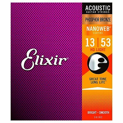 Elixir Nanoweb Acoustic Strings Phosphor Bronze HD Light 13-53