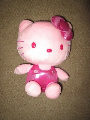 """Hello Kitty 10"""" Tall 8"""" Wide Plush Doll Pink Shiny Sanrio Excellent"""