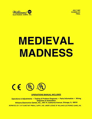 Medieval Madness Operations/Service/Repair Manual/Arcade Pinball Machine     PPS