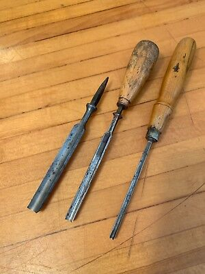 antique lot of 3 GOUGE CHISELS. SWAN - ADDIS - MARPLES. All legible stamps