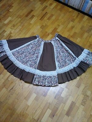Square Dance Swing Skirt, brown with ivory lace & autumn colors.  Medium
