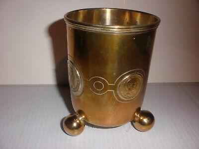 Antique Arts Crafts Silver Beaker Cup 1888 Gold German 20 Mark Friedrich Coin