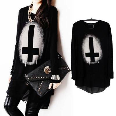 Women Gothic Punk Pullover Long Sleeve Cross Print Loose Tops Blouse Shirt Black