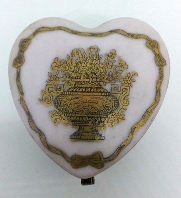 VINTAGESALE:  Pale Pink Heart Trinket Box with Golden Accents!!!