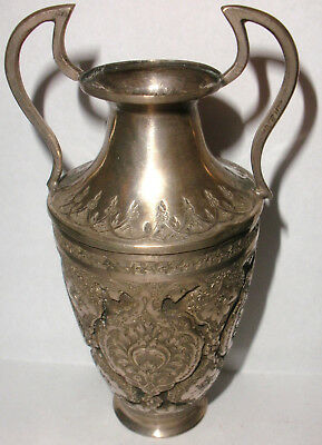 Antique Persian Silver 19Thc Urn Form Vase With Handles Decorated