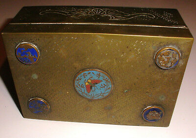 NICE ANTIQUE CHINESE 19thc 1800s BRASS ENAMEL BUTTERFLY RAISED MEDALLION BOX
