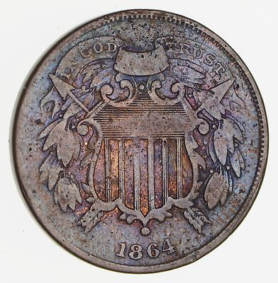 1864 Shield 2 Two Cent Piece - Small Motto - Circulated *2480