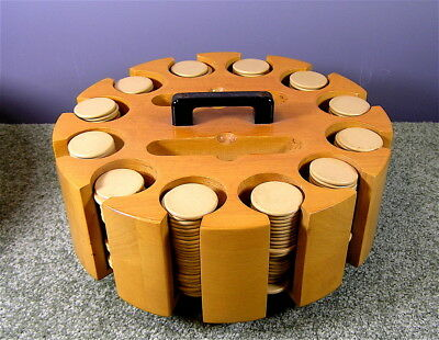 Vintage Maple Poker Chip Caddy With 300 Clay Poker Chips