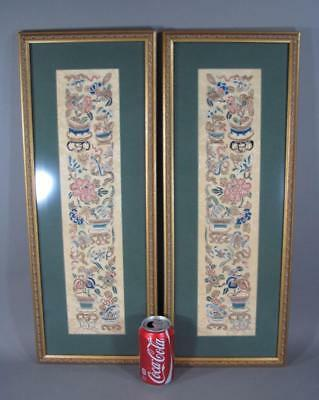 Nice Pr Antique Chinese Framed Embroidered Textile Panels, 19THC
