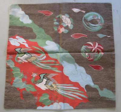 Finely Woven Antique Japanese Textile Panel, Fukusa, Two Ho-o Birds, Label