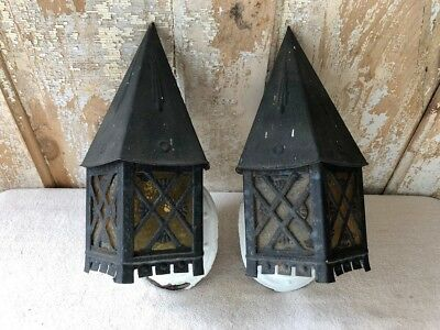 Vintage Pair of Two Metal Tudor Style Porch Lights For Restoration