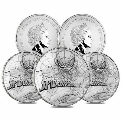 LOT OF (5) 2017 SPIDERMAN (MARVEL) SILVER 1 oz coin .999 BU - TUVALU 1$ 50,000 M
