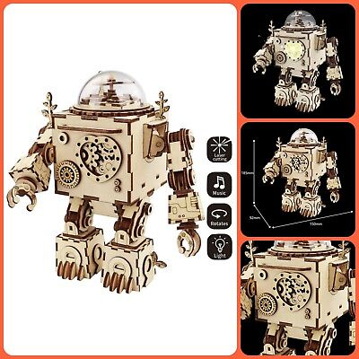 3D Puzzle Music Box Wooden Craft Kit Robot Machinarium Fun Play Toy Light Best