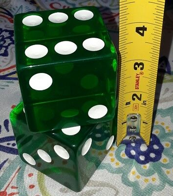 "Vintage Old 2 Large Jumbo GREEN Dice Lucite rare 2"" pair"