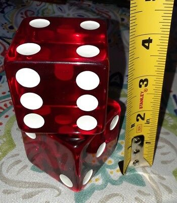 "Vintage Old 2 Large Jumbo Cherry Red Dice Lucite rare 2"" pair"