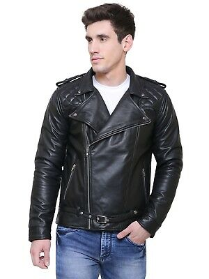 ADWAITA Men Black Slim fit Genuine Lambskin Leather Motorcycle Biker Jacket Gift