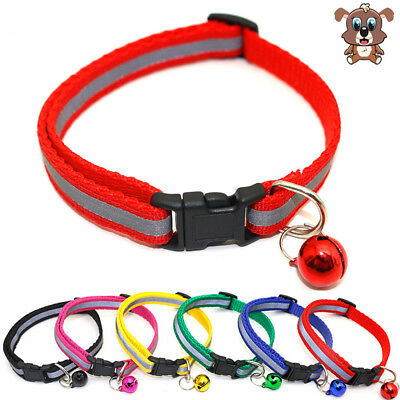 Pet Dog Cat Safety Glossy Necklace Reflective Collar Buckle Soft with Bell