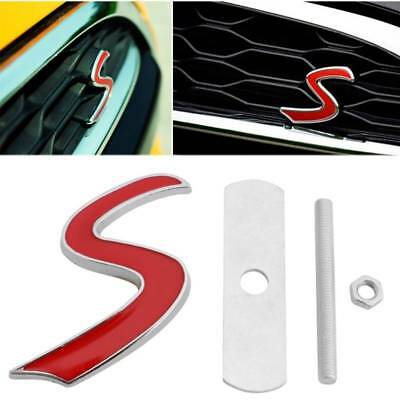 3D  Metal S Front Grille Emblem Badge Decal For BMW Mini Cooper R50 R52 R53 R56