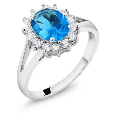Vintage Victorian Blue and White CZ Cubic Zirconia Halo Ring with