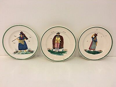 """3 Antique Italian Hand Painted Quimper Faience Style 8⅜"""" Plates Italy 1301 Mark"""