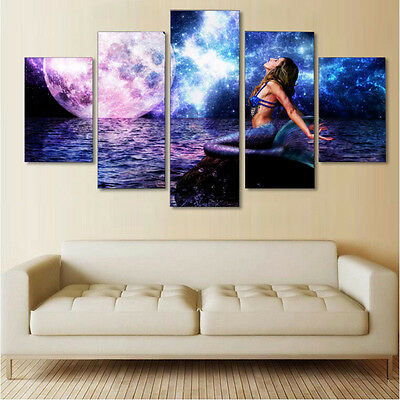 Modern Abstract Mermaid Canvas Print Painting Picture Wall Hanging Home Decor