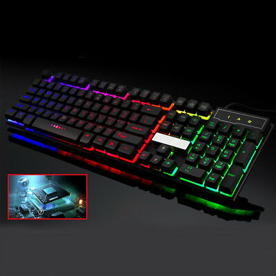 RGB LED 104 Key Wired Backlit Mechanical Gaming Keyboard Switches Anti-Ghosting