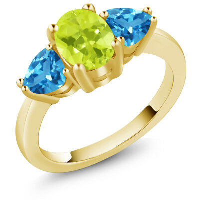 2.26 Ct Yellow Lemon Quartz Swiss Blue Topaz 18K Yellow Gold Plated Silver Ring