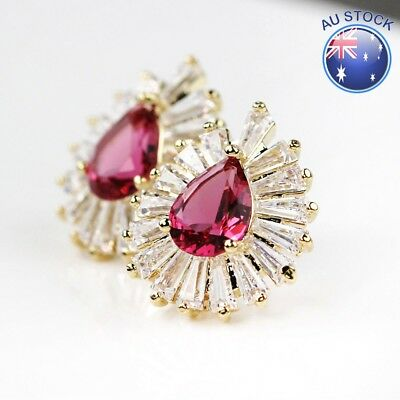 New 18K Gold Plated Women's 17MM Pink Crystal Antique Stud Earrings Stunning
