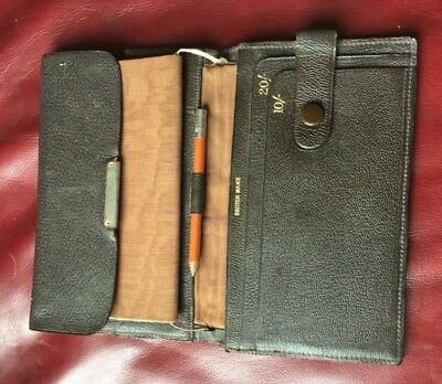 Vintage 1920s Leather Wallet with attached silk-covered Notebook and Pencil