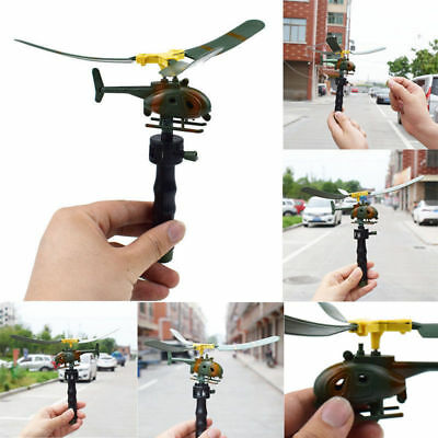 Pull String Handle Helicopter Plane Aircraft Funny Kids Outdoor Flying Toy Gifts