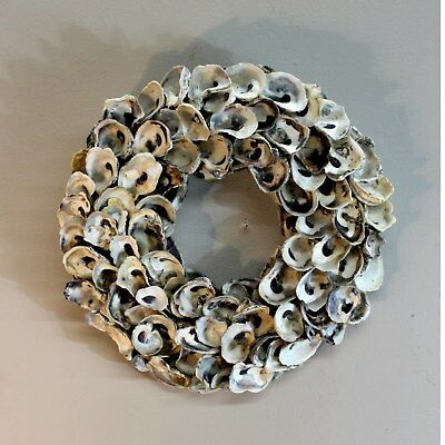 Oyster Shell Wreath or Centerpiece Real Shells Hand Crafted Beach Nautical Style