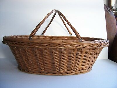 Vintage Large Double Swing Handle French Style Wicker Rattan Gathering Basket