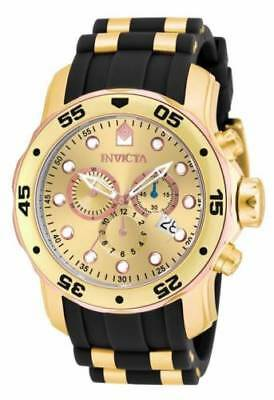 17884  Invicta 48mm Men's Gold Dial Gold Steel & Rubber Strap Watch