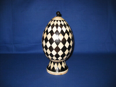 Rare Vintage Anglo-Indian Black / White Inlay Bovine Bone and Horn Checkerboard