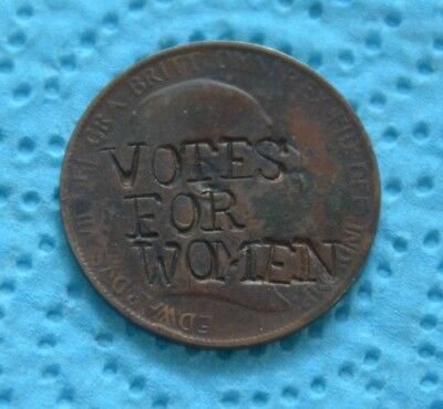 Defaced Suffragette Votes For Women One Penny 1907 Edward Vii Coin