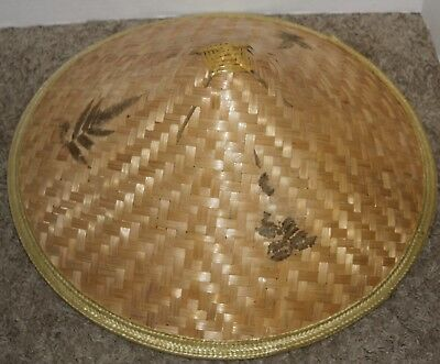Vintage ASIAN BAMBOO STRAW Conical COOLIE RICE PADDY FARMER HAT LARGE