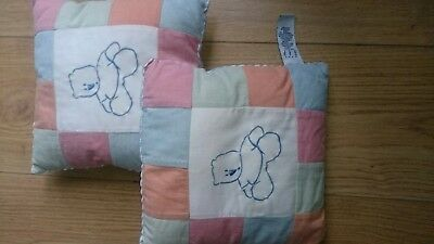 2x Small Baby Nursery decorative👶Pillows From GAP with Patchwork & Teddy Bear