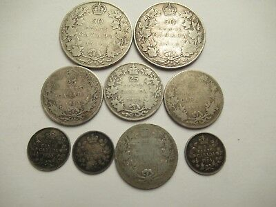 9 Canada Silver Coins, mixed dates & denominations incl. 1885 5 c - small 5