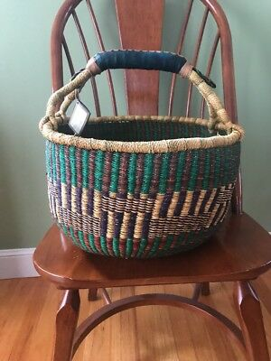OVER SIZED Handmade Ghana BOLGA Market Basket w/ Leather Handle  SEE!!