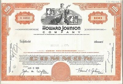 1966: 2 Certificates: 100 Shares General Foods Corp. + Howard Johnson Comp. #X69