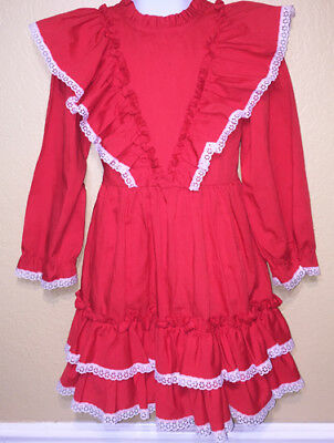 Vintage Kandy Ann Red Ruffled Holiday Party Dress Size 6