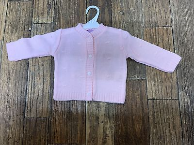 Baby girls girl pink spot spotty knitted cardigan 6-9-12-18-24 months 1-2 years