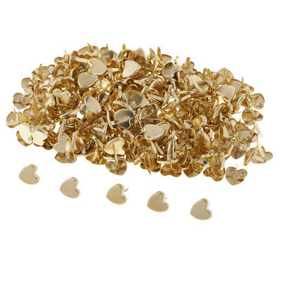 200Pcs Gold Heart Paper Fasteners Brads for Crafts, Scrapbooks, Card Making