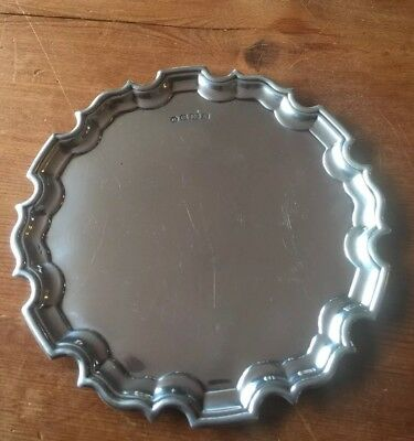 Sterling Silver Scolloped Money Salver By Carrs Of Sheffield Hallmarked 1997.