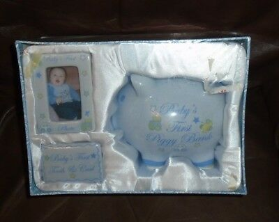 Baby Gift Set Keepsake Box, Baby's First Piggy Bank, Tooth & Curl, 1St Photo