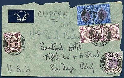 Hong Kong 1938 Air Mail Cover Front used Victoria to U.S,A.