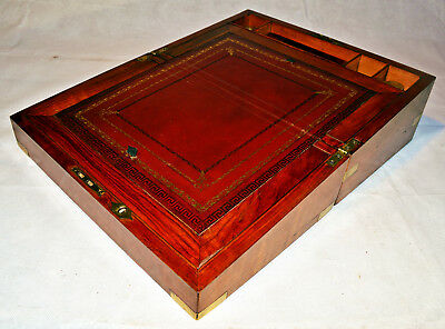 Victorian Rosewood Brass Banded Writing Slope with Inkwells & Key