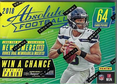 2018 Panini ABSOLUTE Football NFL Trading Cards New 64ct. Retail Blaster Box
