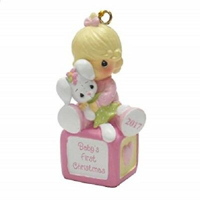 NIB Precious Moments Baby's First Christmas Ornament Baby Girl Pink 2017